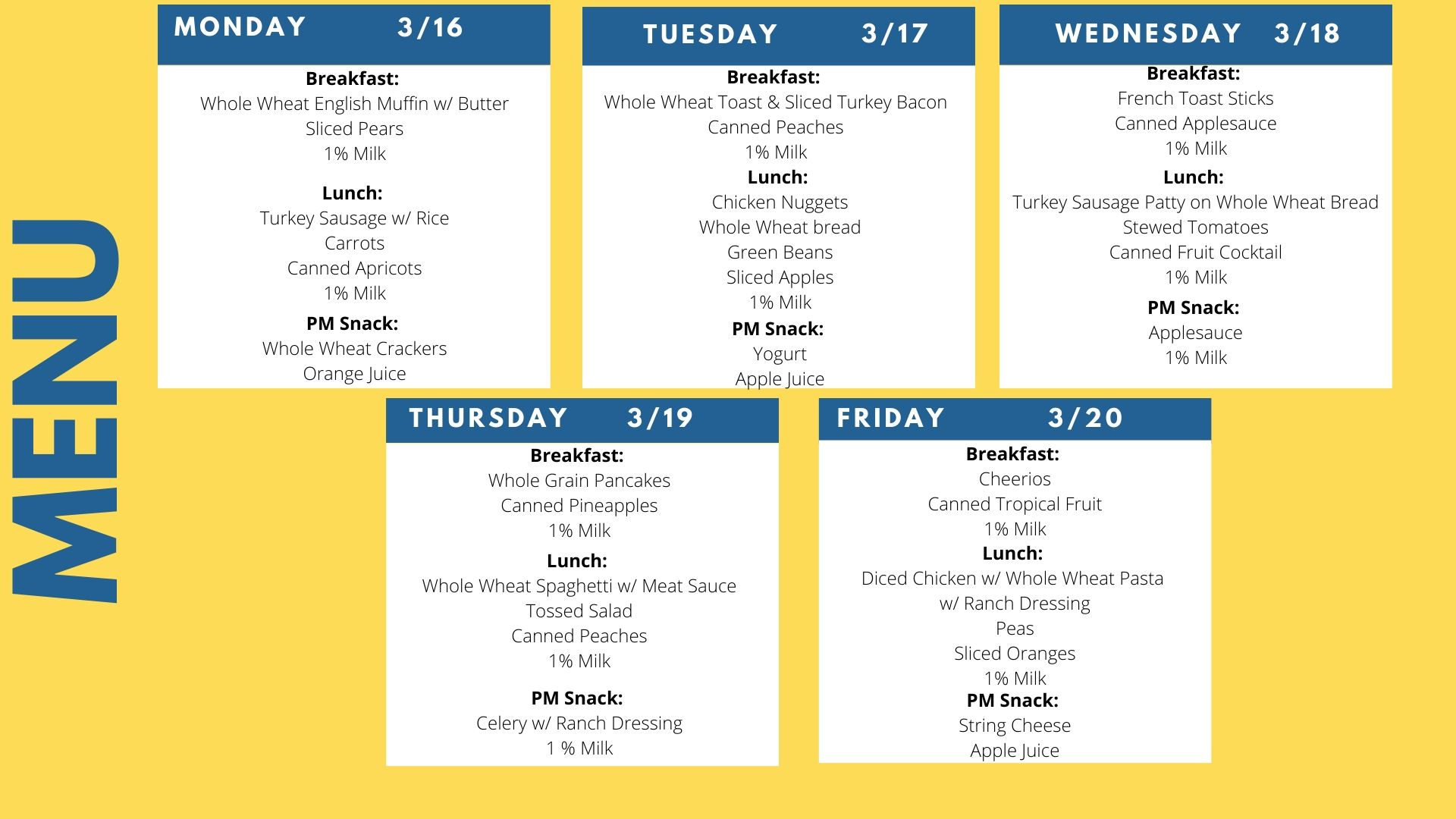 Meal Menu for the week of March 16