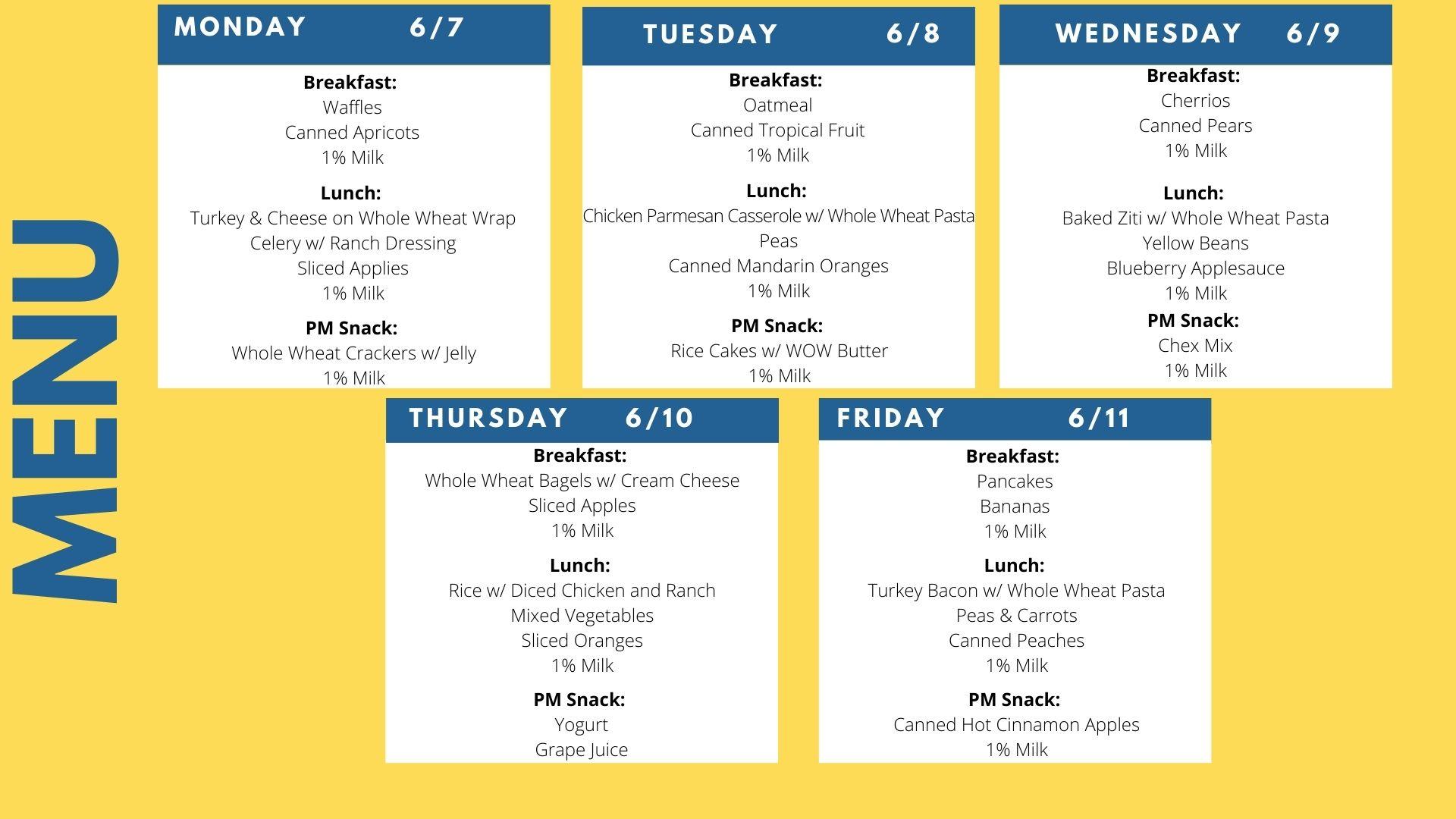 Lunch menu June 7 through 11