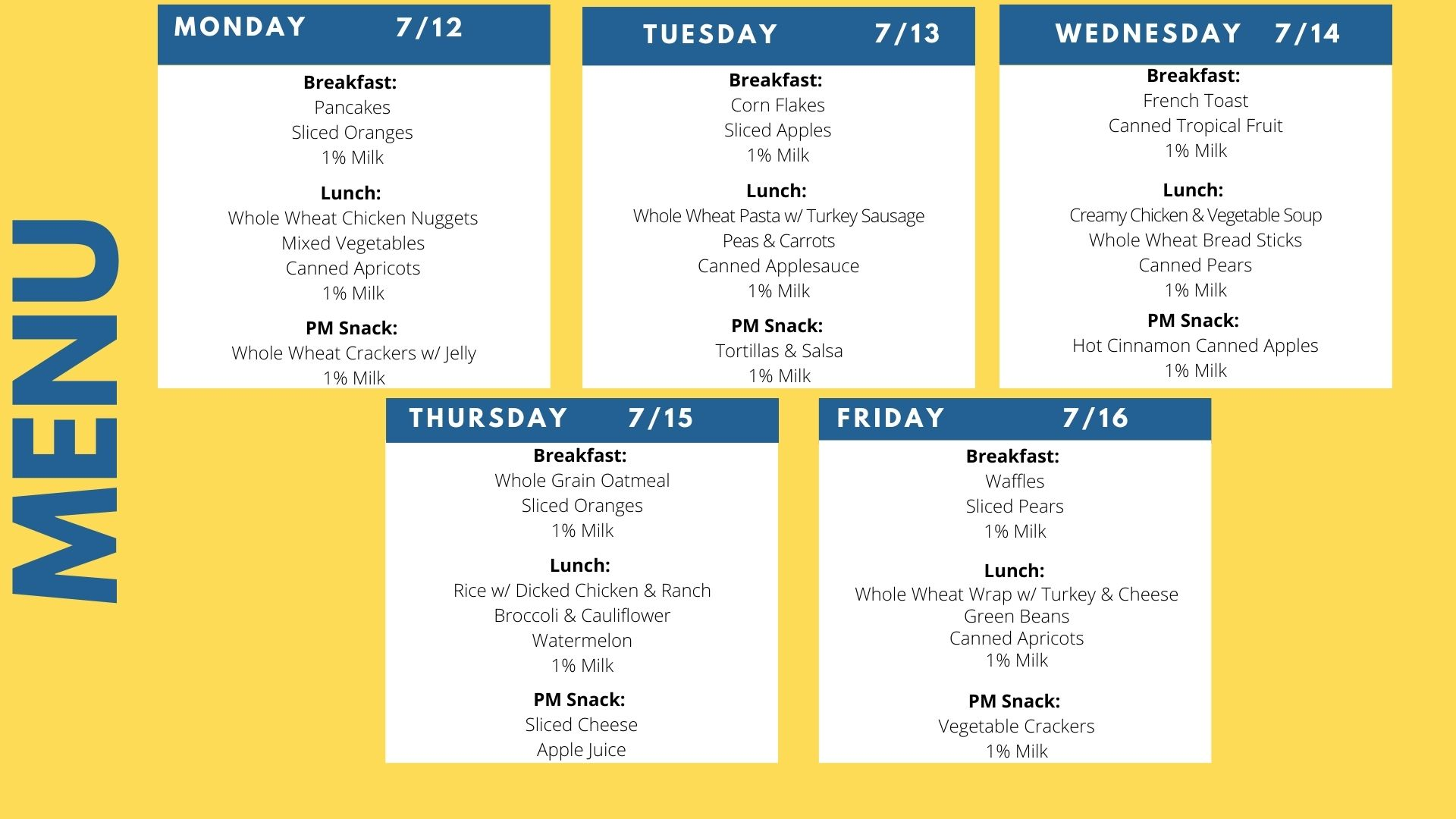 Lunch menu July 12 to 16