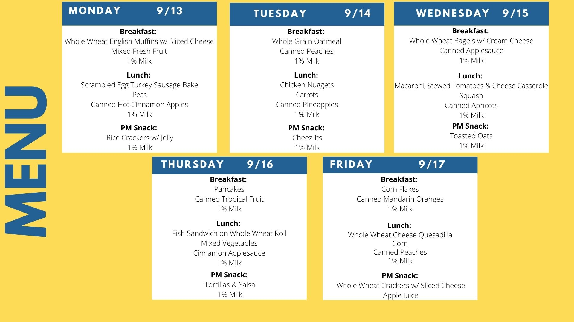Menu Sept. 13-17